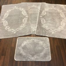 ROMANY WASHABLES GYPSY MATS 4PC SETS NON SLIP FRAME DESIGN SILVER GREY CARPETS